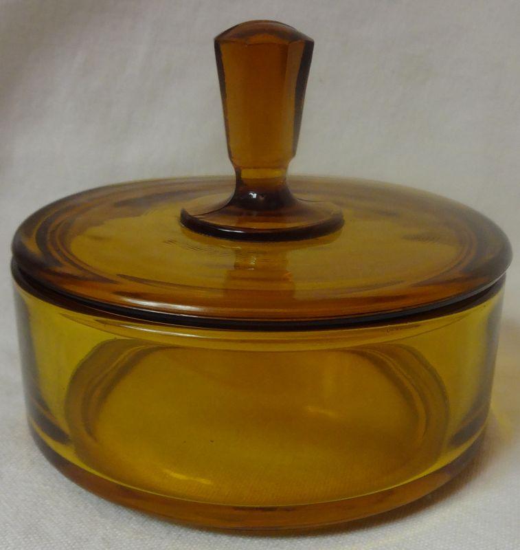 "Amber Puff Box 4 3/8"" New Martinsville Glass Company"