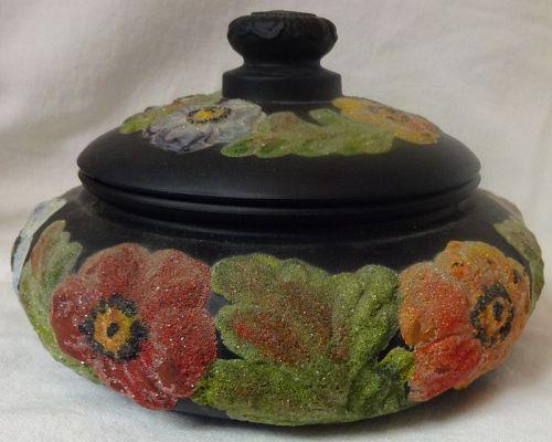 "Powder Box & Cover Black Satin #8142 7"" with Coralene Tiffin Glass"