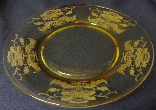 "Flanders Mandarin Plate 8"" Tiffin Glass Company"