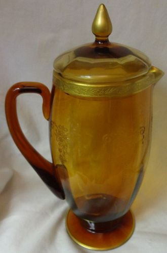 """Melrose Amber Gold Encrusted Jug & Cover 2 Quart 11.5"""" Tiffin Glass"""