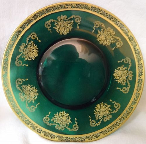 """Melrose Kilarney Green Gold Encrusted Plate 8.25"""" Tiffin Glass Company"""