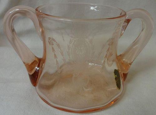 Charmain Pink Sugar Flat #6 Tiffin Glass Company