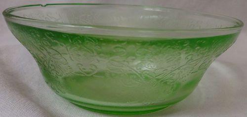 "Florentine #2 Green Bowl 4.5"" Hazel Atlas Glass Company"