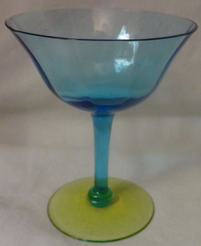 """Blue and Canary Saucer Champagne 4 5/8"""" Tiffin Glass Company"""