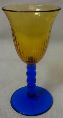 """Amber Bowl & Cobalt Stem Cordial 3.5"""""""