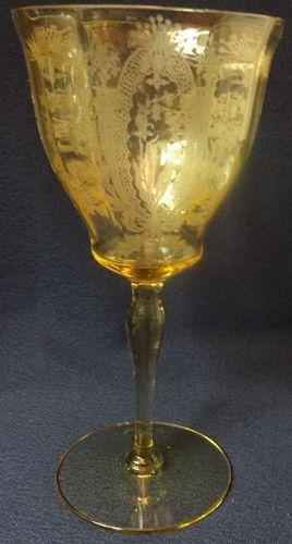 "LaFleure Mandarin Goblet 7.5"" Lady Leg Stem Tiffin Glass Company"