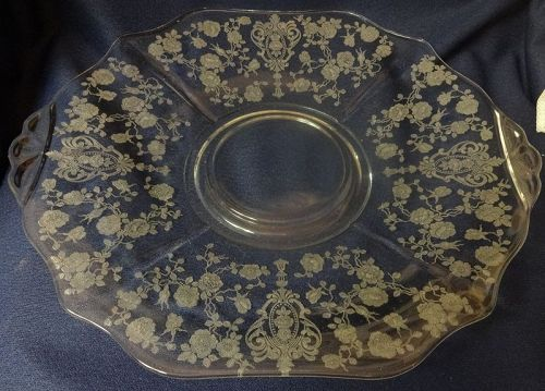 """Rose Point Crystal Tray 12.25"""" With Seat 3900 Cambridge Glass Company"""