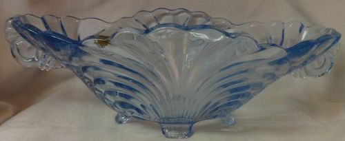 """Caprice Moonlight Blue Bowl Oval 11"""" 4 Footed #65 Cambridge Glass"""