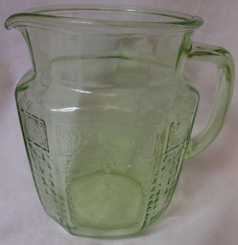 "Princess Green Juice Pitcher 6"" 37 oz Hocking Glass Company"