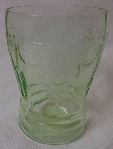 "Cameo Green Water Tumbler 4"" Hocking Glass Company"