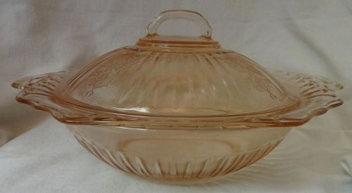"Mayfair Pink Covered Bowl 10"" Hocking Glass Company"