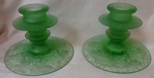 "Grape Green Brocade Candlestick Pair 4"" Fostoria Glass Company"