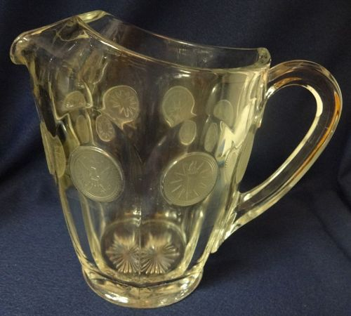 "Coin Crystal Pitcher 6 3/16"" 32 oz Fostoria Glass Company"