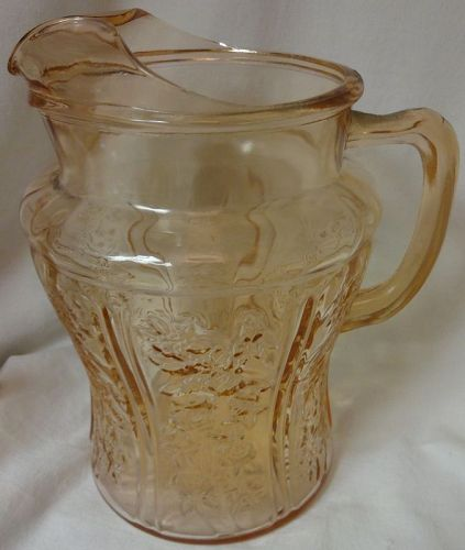 "Sharon Pink Ice Lip Pitcher 8.5"" 80 oz Federal Glass Company"