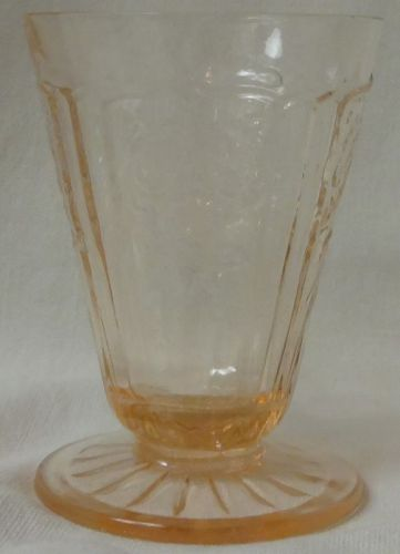 "Mayfair Pink Juice Footed 3.25"" 3 oz Hocking Glass Company"