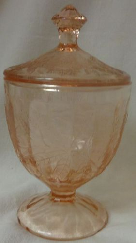 "Floral Pink Candy & Lid 6.5"" Jeannette Glass Company"