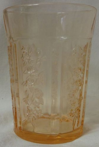 "Sharon Pink Water Tumbler Thick 4 1/8"" 9 oz Federal Glass Company"