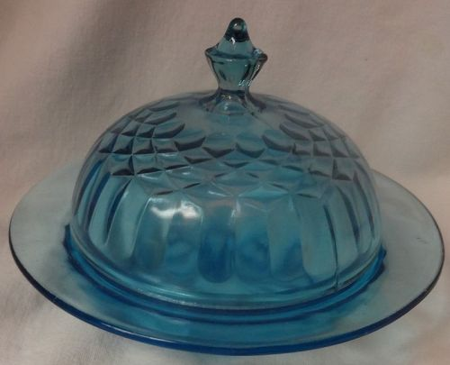 Aunt Polly Blue Butter and Lid U S Glass  Company