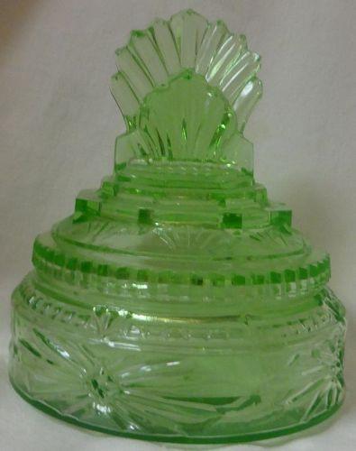 """Art Deco Pleated Fan Powder Jar Green 5.25"""""""