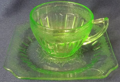 Adam Green Cup & Saucer Jeannette Glass Company