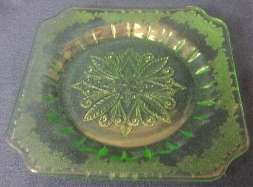 Adam Green Sherbet Plate Jeannette Glass Company