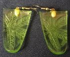 "Floral Green Earring Pair 1.5"" long Jeannette Glass Company"