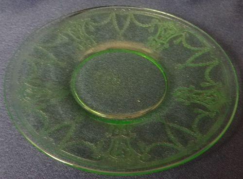 "Cameo Green Sherbet Plate 6"" Hocking Glass Company"