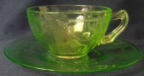 Cameo Green Cup & Plate Hocking Glass Company