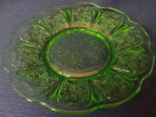 "Cherry Blossom Green Sherbet Plate 6"" Jeannette Glass Company"