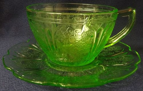 Cherry Blossom Green Cup & Saucer Jeannette Glass Company