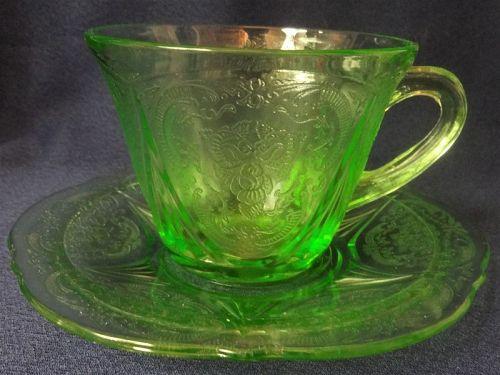 Royal Lace Green Cup & Saucer Hazel Atlas Glass Company