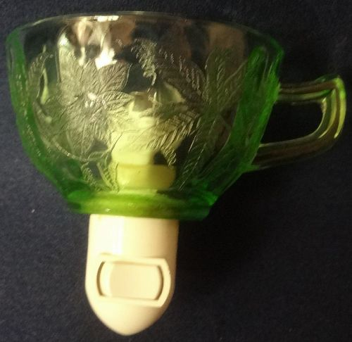 Floral Green Night Light Jeannette Glass Company