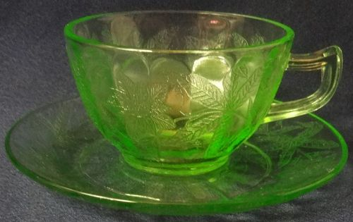 Floral Green Cup & Saucer Jeannette Glass Company