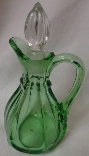 Oil Green 5.75 Crystal Stopper Paden City Glass Company