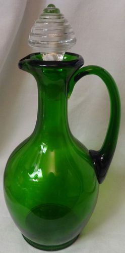"Decanter Green 11.25"" New Martinsville Glass"