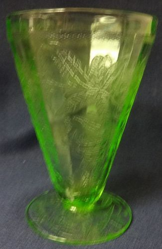 "Floral Green Water Tumbler Footed 4.75"" 7 oz Jeannette Glass Company"