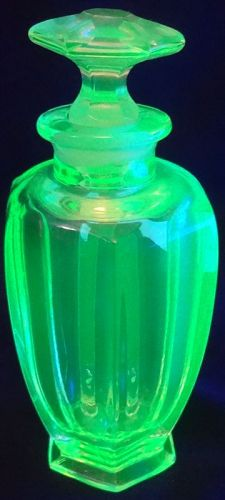 """Perfume and Stopper 4.75"""" Vaseline Tiffin Glass Company"""