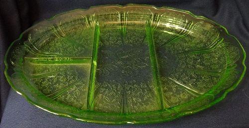 """Cherry Blossom Green Platter 13"""" Divided Jeannette Glass Company"""