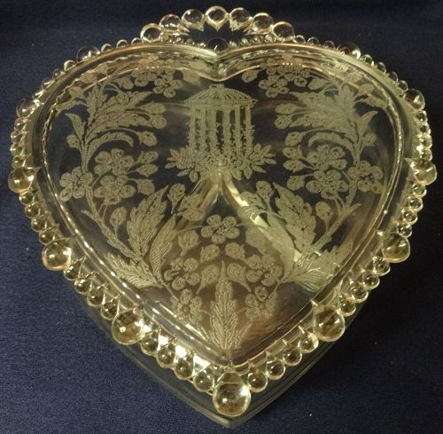 """Utopia Crystal Candy & Lid 8.75 x 7.5"""" Heart Shaped Paden City"""