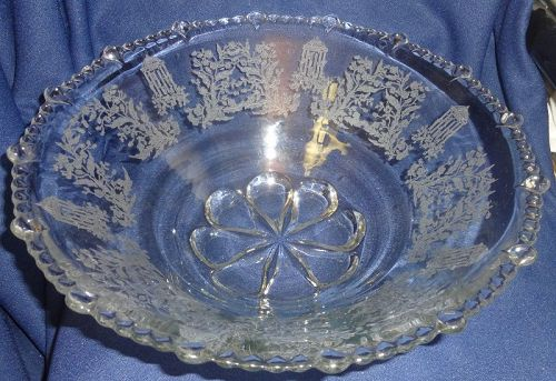 "Gazebo Crystal Bowl 12"" #555 Paden City Glass Company"