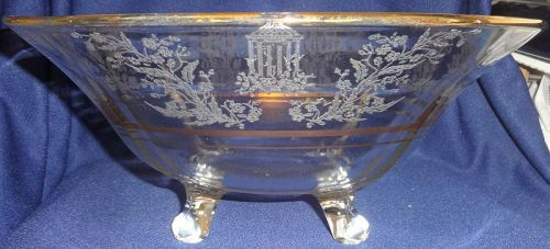 "Gazebo Crystal Bowl 12"" 4 Footed Gold Trim Paden City Glass Company"