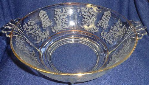 "Gazebo Crystal Gold Trim Bowl 9"" Handled #211 Paden City Glass"