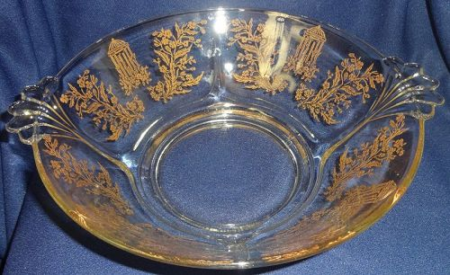 "Gazebo Crystal Gold Encrusted Bowl 9"" Handled #211 Paden City Glass"