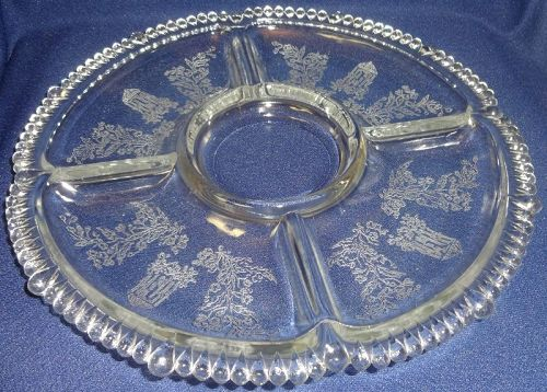 Gazebo Crystal Relish 5 Part #555 Paden City Glass Company