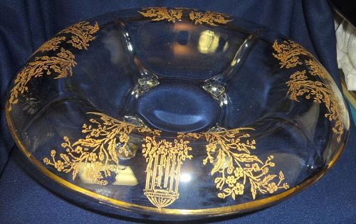 "Gazebo Crystal Gold Encrusted Console Bowl 12"" 4 Footed Rolled Edge"