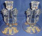 "Gazebo Crystal Gold Encrusted Candlestick Pair 6.5"" Paden City Glass"