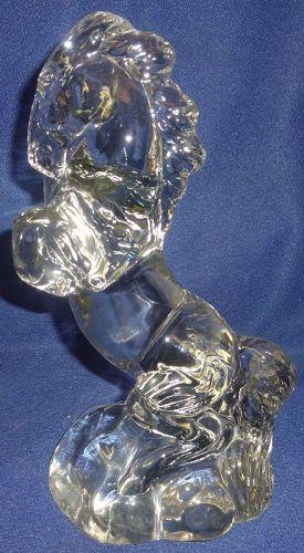 "Rearing Horse Crystal 10"" Paden City Glass Company"