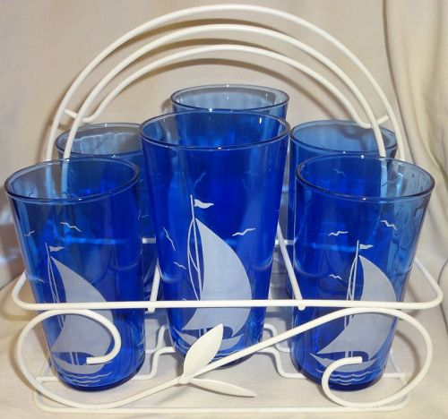 """Ships Ritz Blue Tumblers in Caddy 4 4.75"""" 2 5"""" Hazel Atlas Glass"""