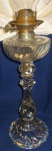 "Queen Ann Crystal #2 Banquet Oil Lamp 18"" Fostoria Glass Company"