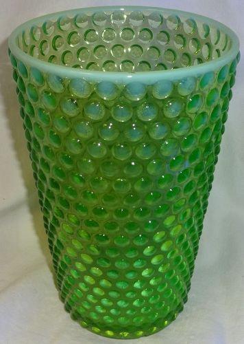 """Hobnail Green Opalescent Flip Vase 8"""" Duncan Miller Glass"""